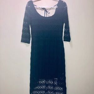Navy Blue Lace High Low Dress